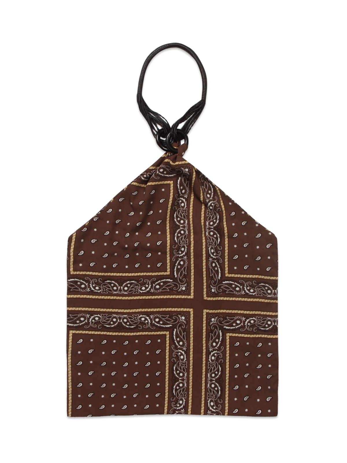 Paisley Leather Scarf Bag_Brown