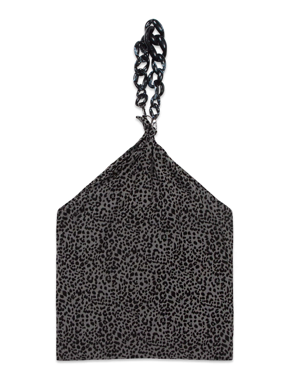 Leopard Chain Scarf Bag_Charcoal