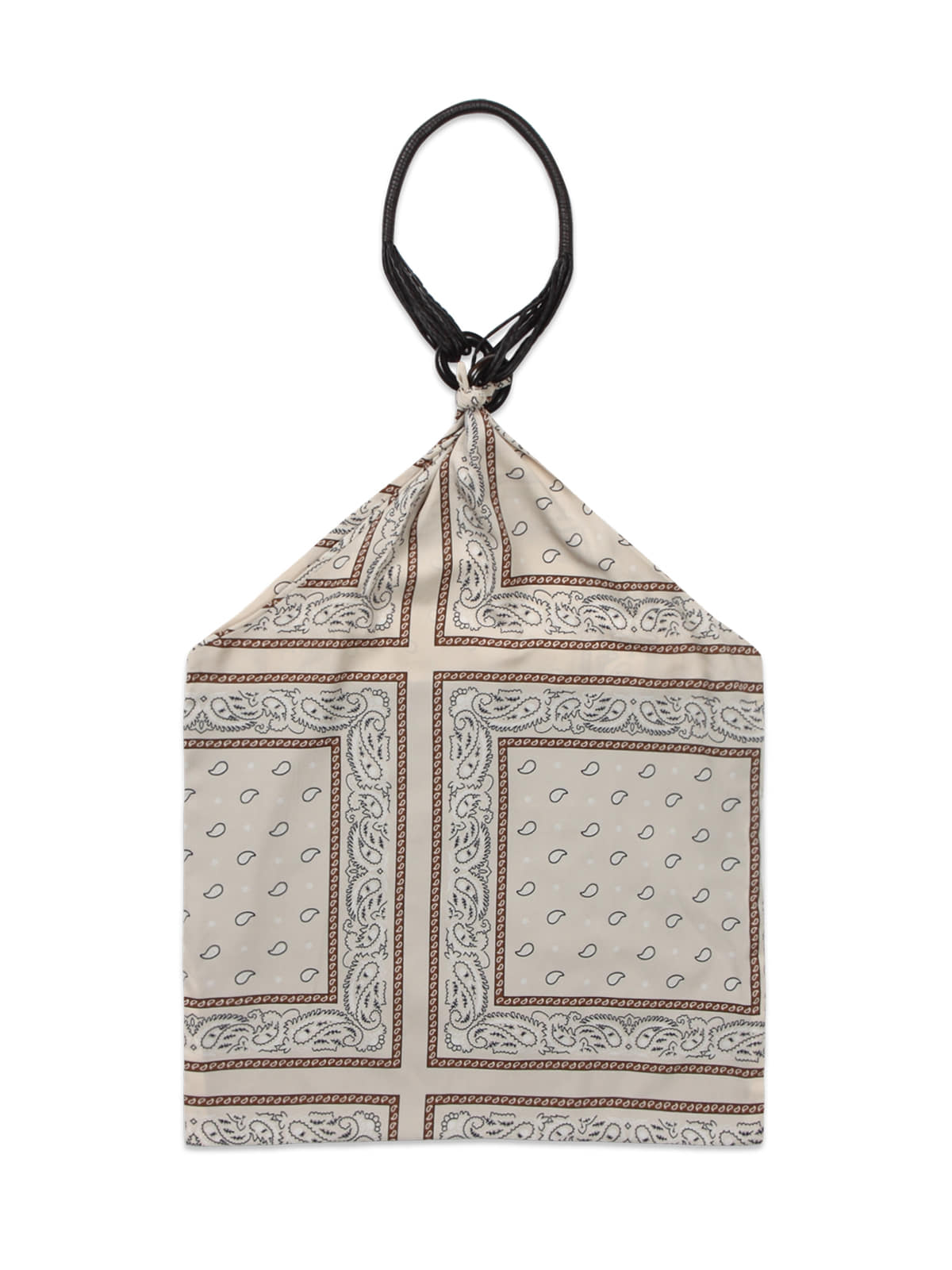 Paisley Leather Scarf Bag_Ivory