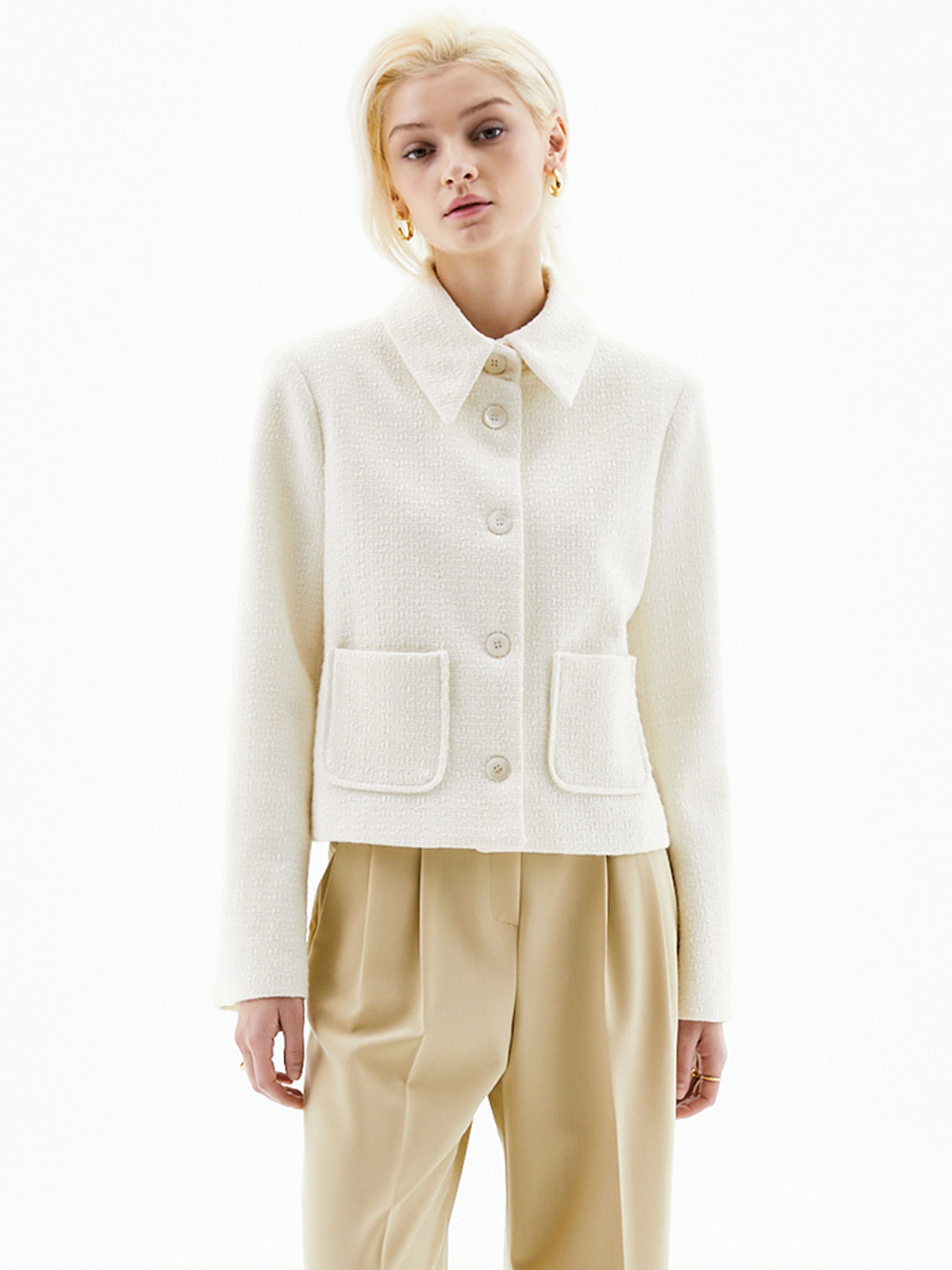 Kelly Collar Tweed Jacket_Ivory