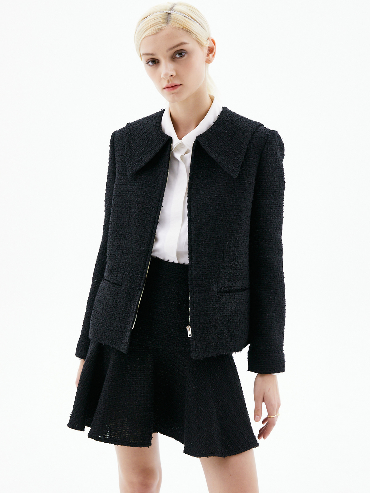 [3/15(월) 예약발송]Alice Zip-Up Tweed Jacket_Black