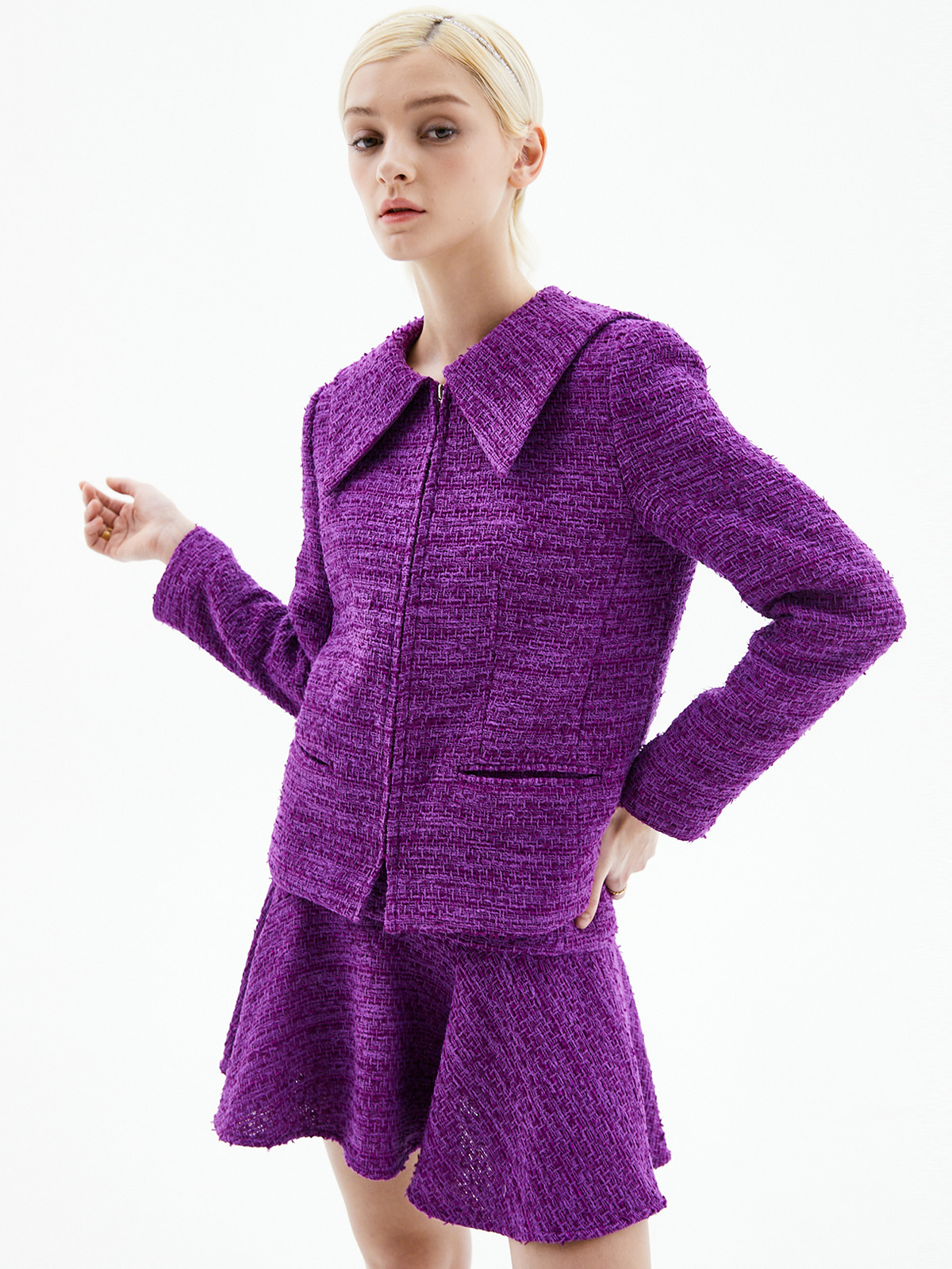 [3/15(월) 예약발송]Alice Zip-Up Tweed Jacket_Purple