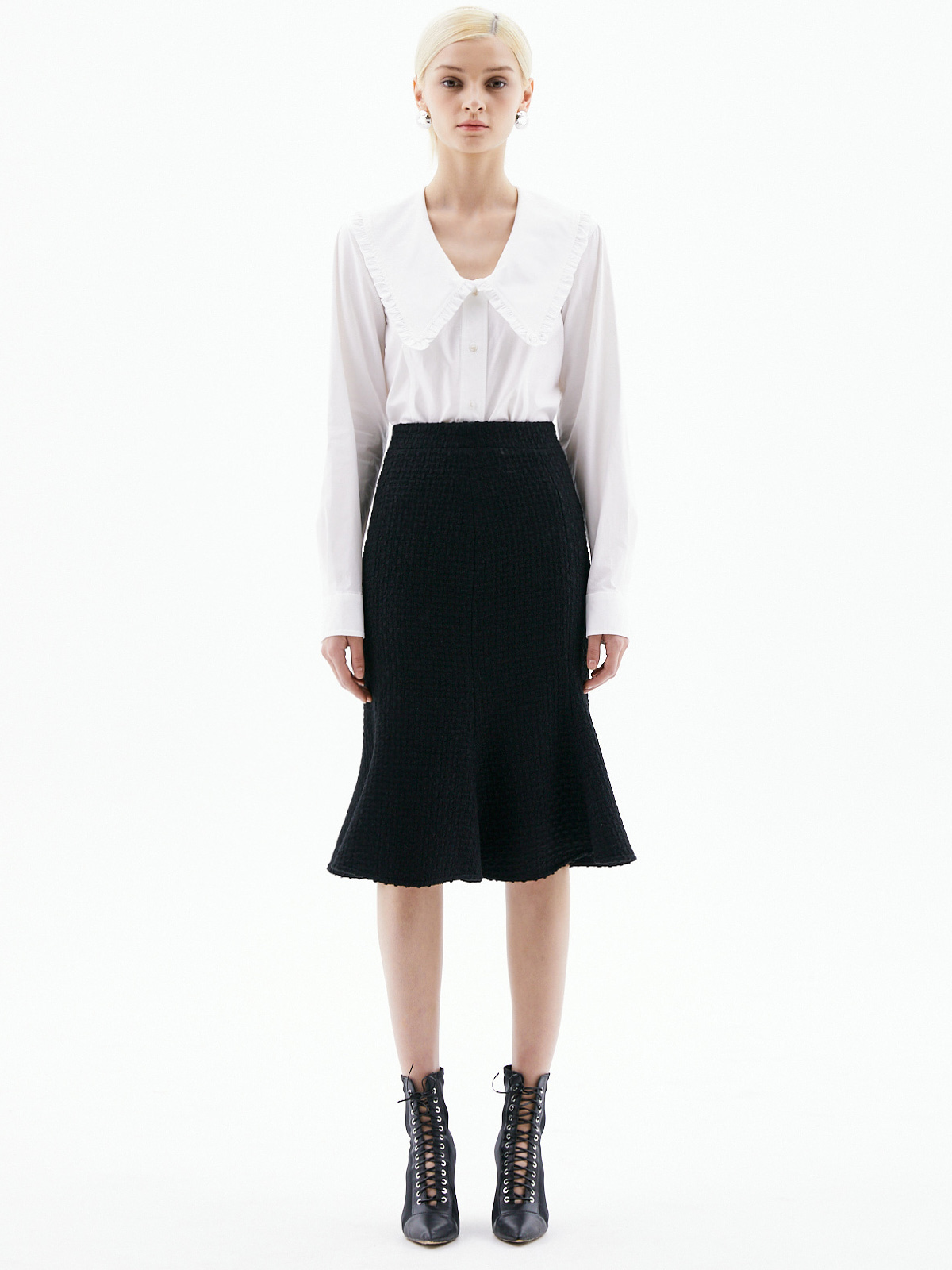 [3/15(월) 예약발송]Harper Tweed Flare Skirt_Black