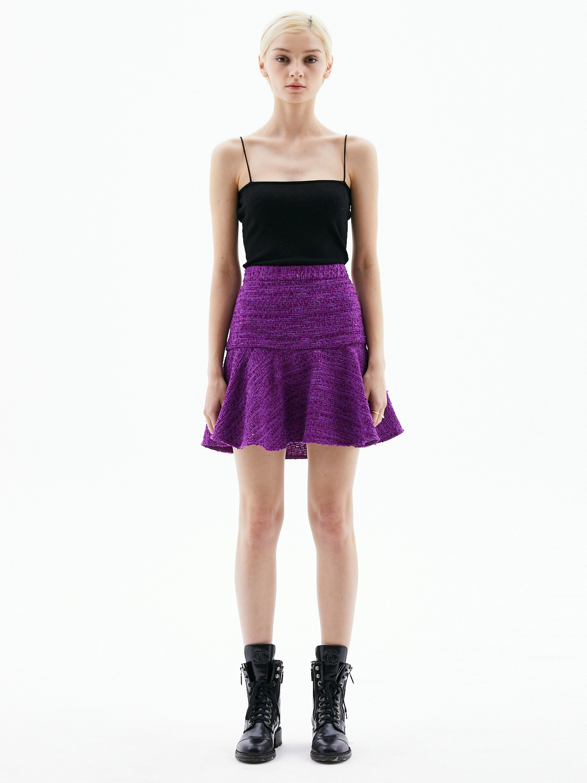 [3/15(월) 예약발송]Alice Tweed Mini Skirt_Purple