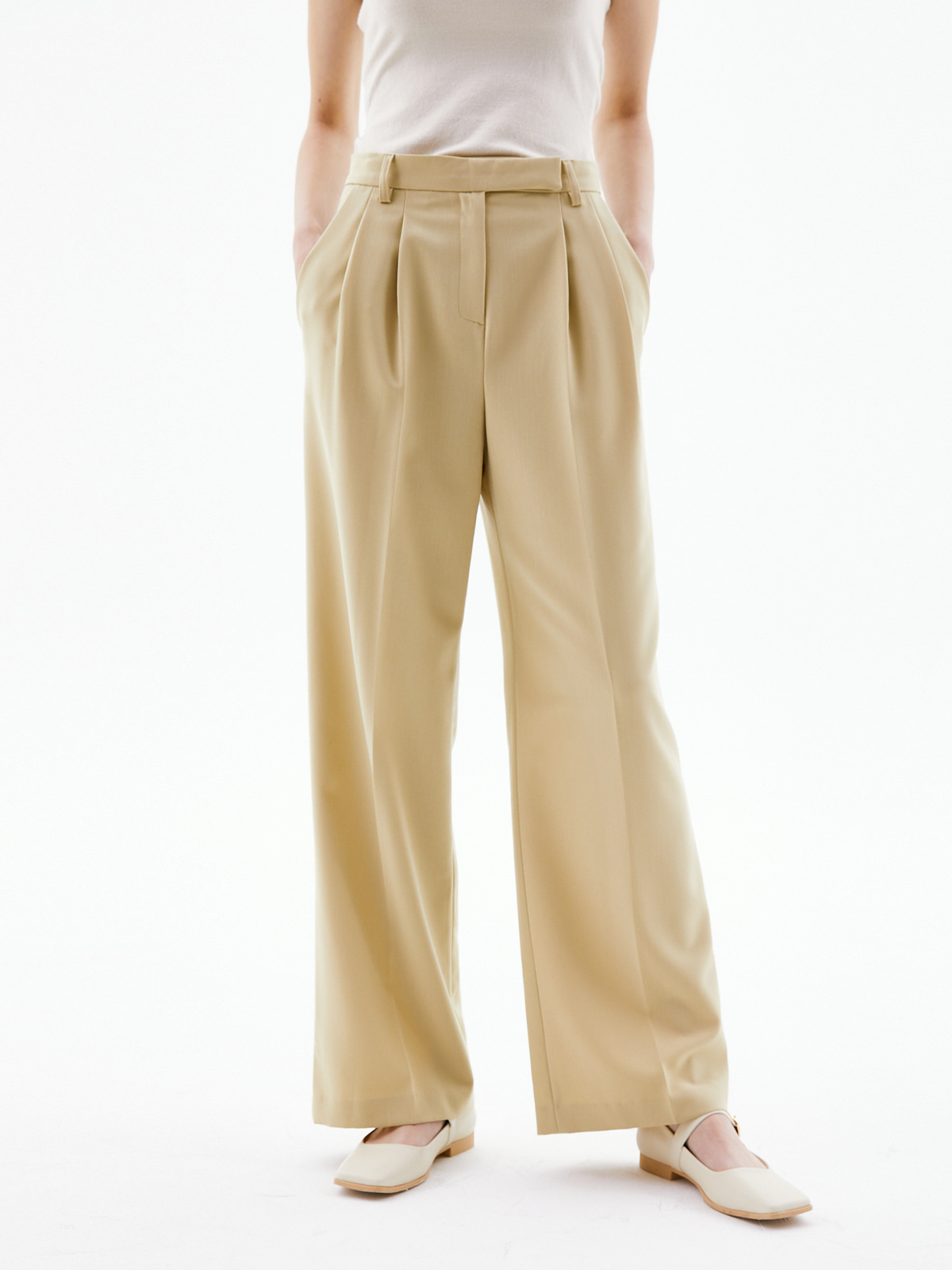 Nancy Double Pintuck Pants_Beige