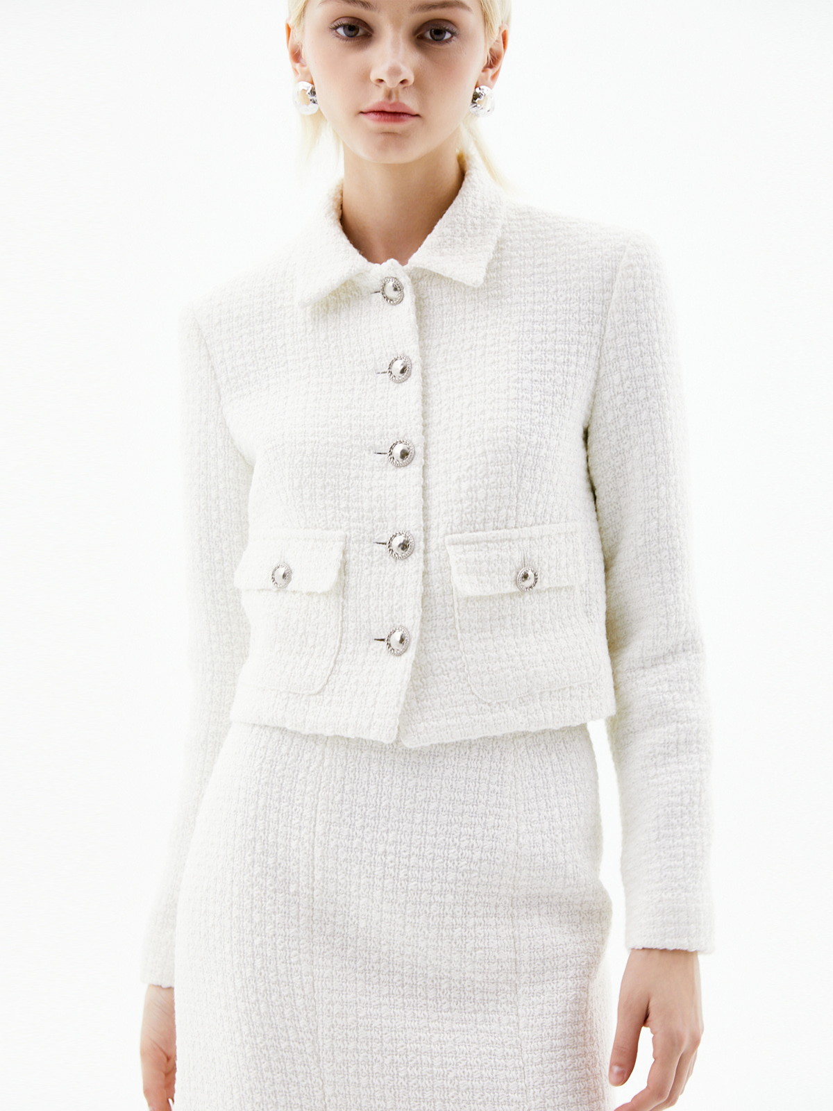 [3/15(월) 예약발송]Harper Cropped Tweed Jacket_Ivory