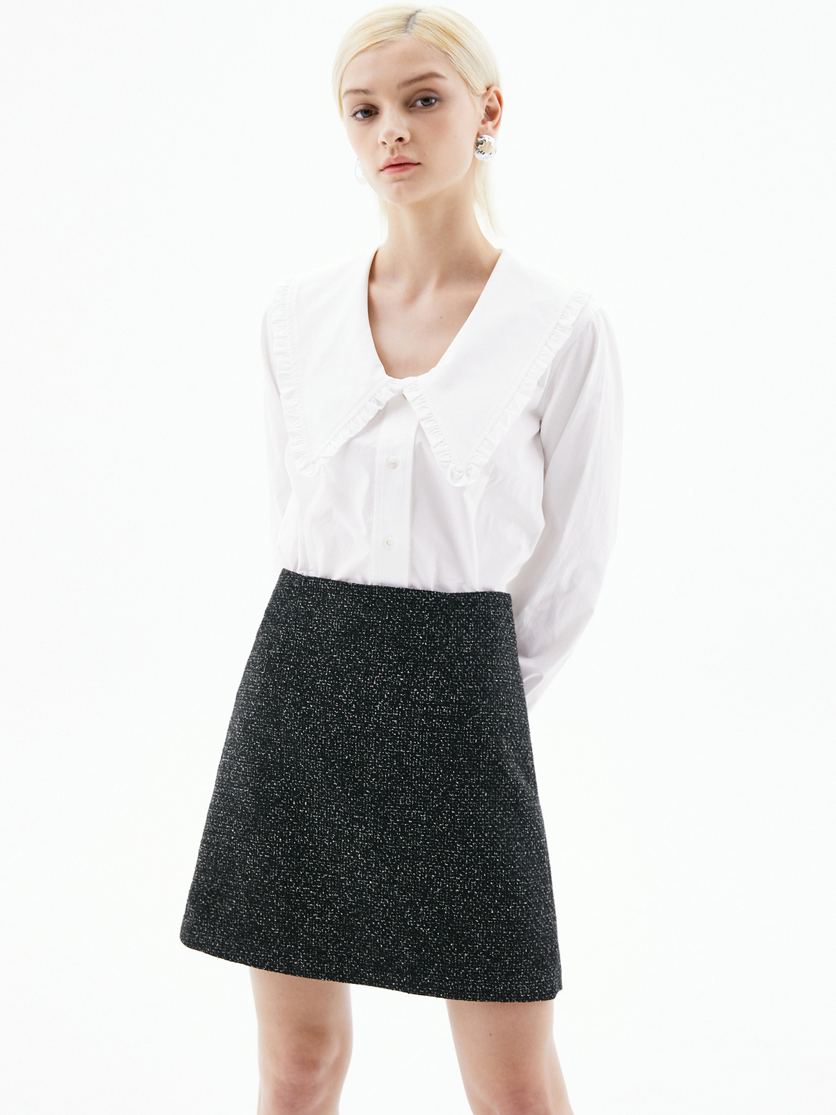[3/15(월) 예약발송]Jocelyn Tweed Mini Skirt_Black
