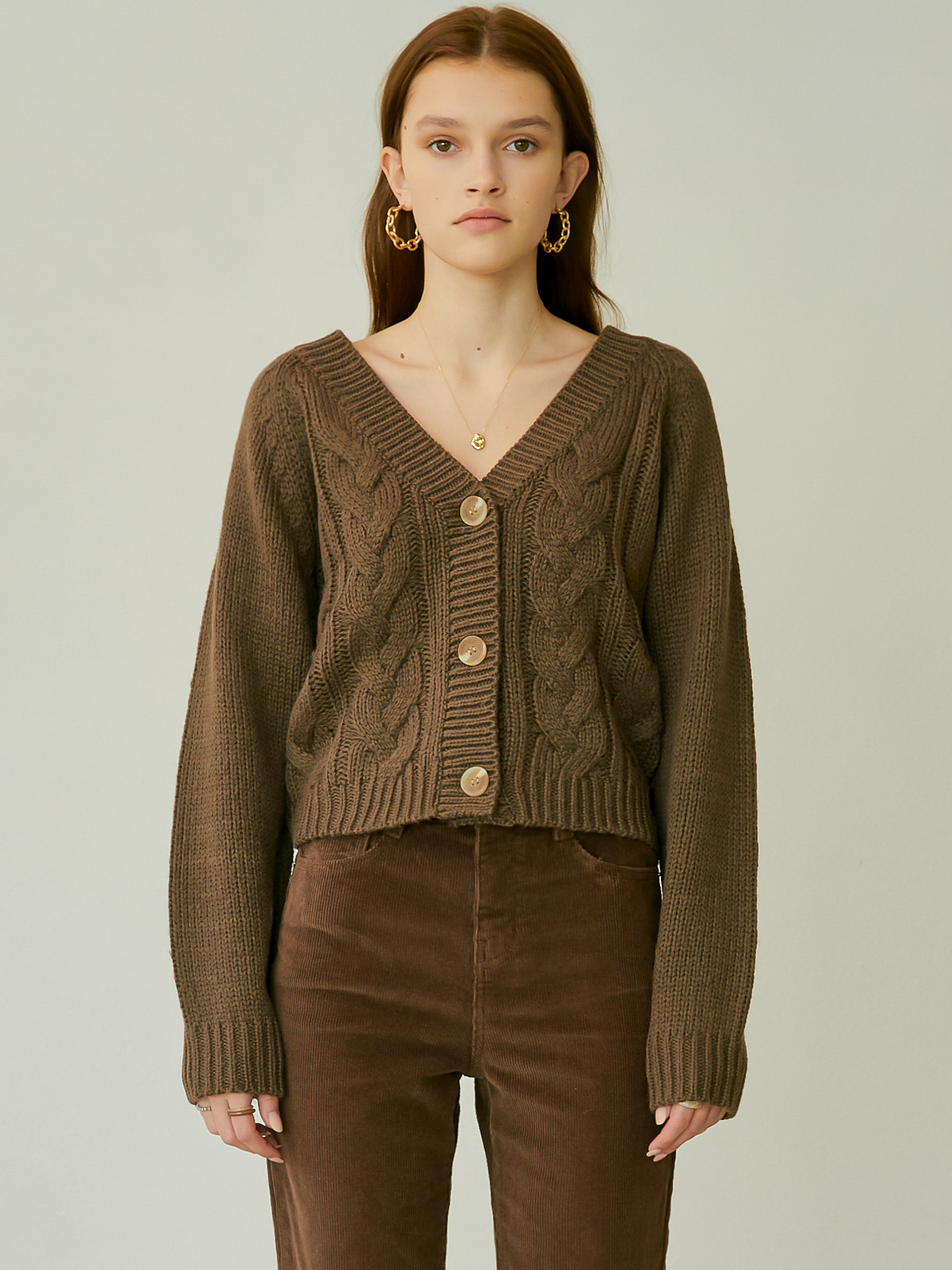 [시즌오프 35%]Julia Cable Cardigan_Brown