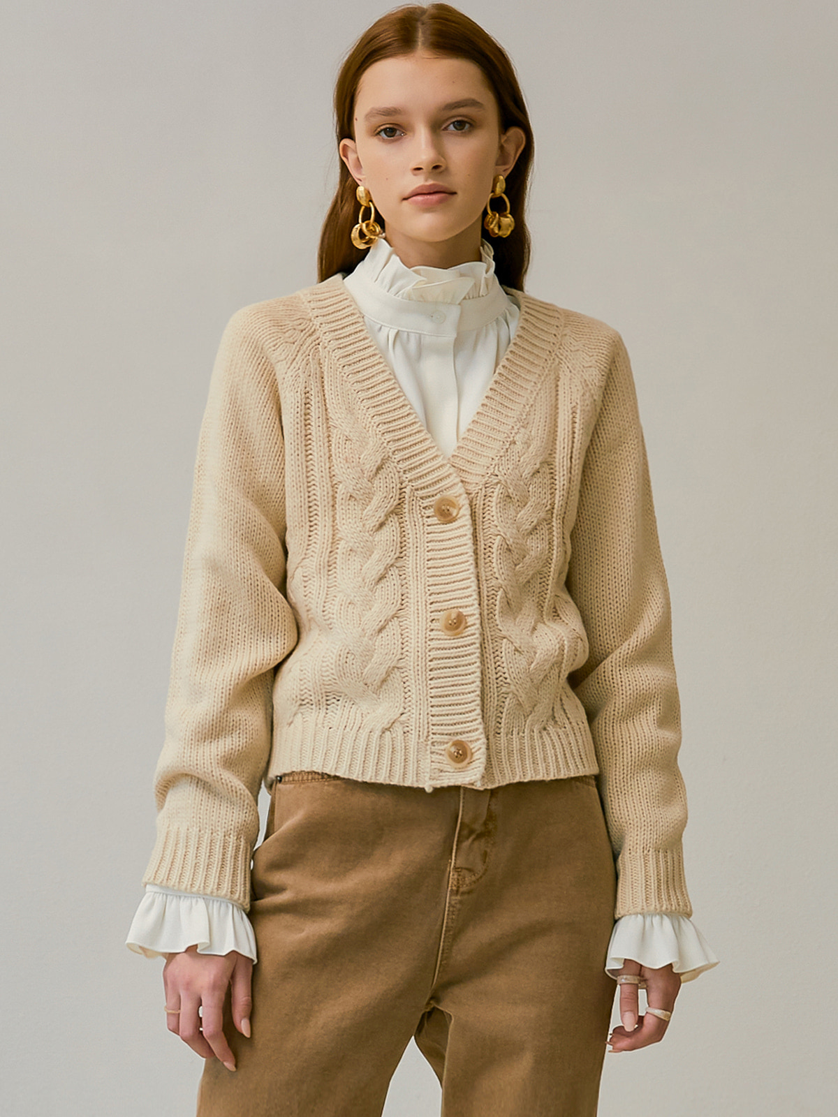 [시즌오프 35%]Julia Cable Cardigan_Ivory