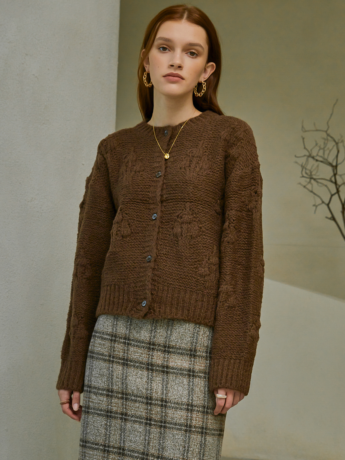 [시즌오프 35%]Hazel Balloon Knit Cardigan_Brown