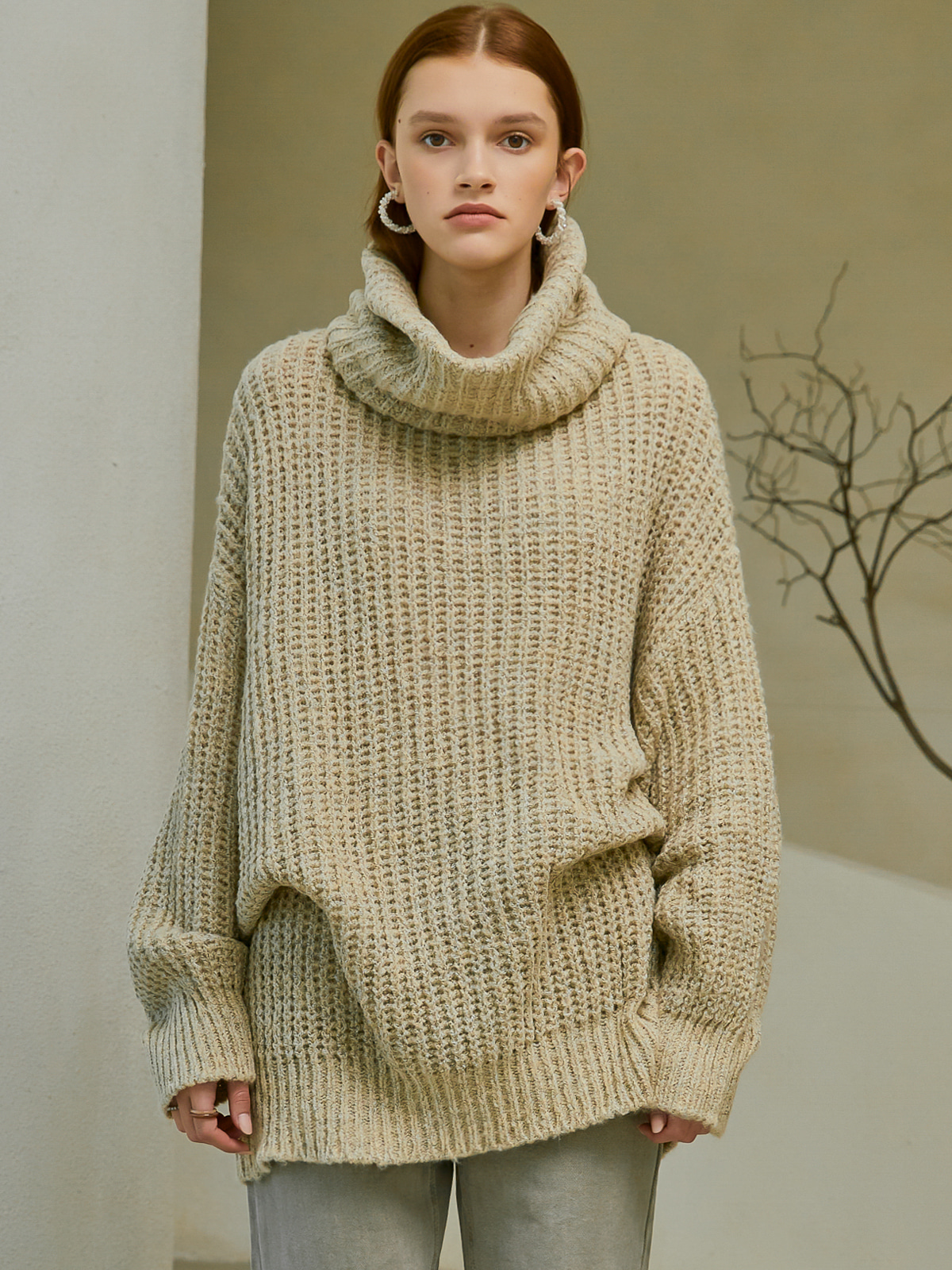 [시즌오프30%]Isabel Balloon Turtleneck Knit_Beige
