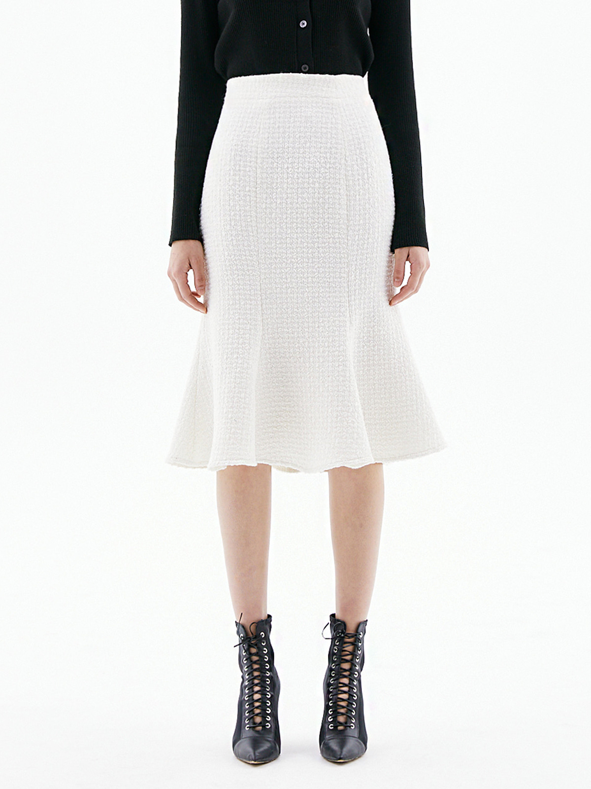 Harper Tweed Flare Skirt_Ivory