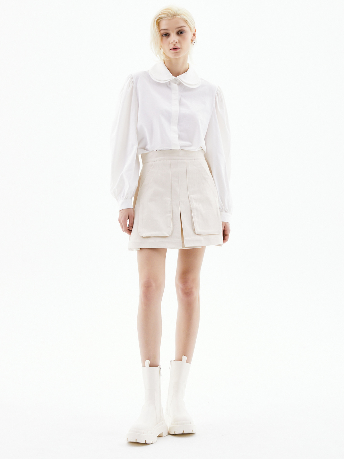 Sophie Pocket Mini Skirt_Ivory