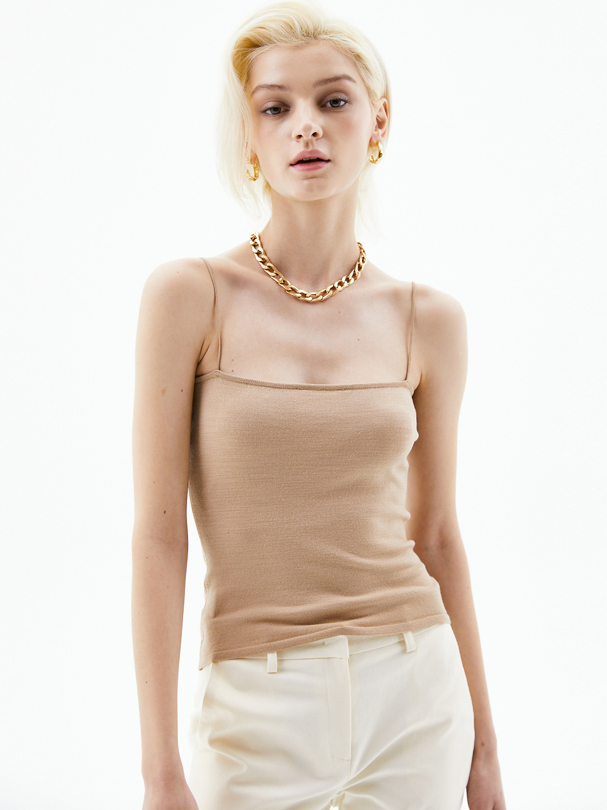Helen Sleeveless Knit Top_Beige