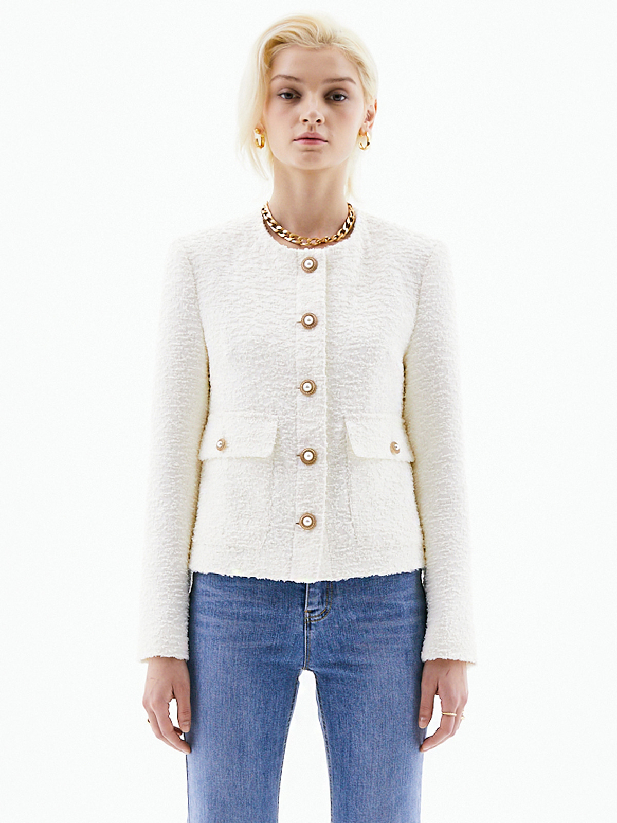 Harriet Classic Tweed Jacket_Ivory
